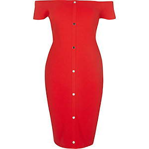 Red bardot popper front dress