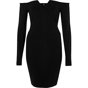 Black bardot long sleeve bodycon dress