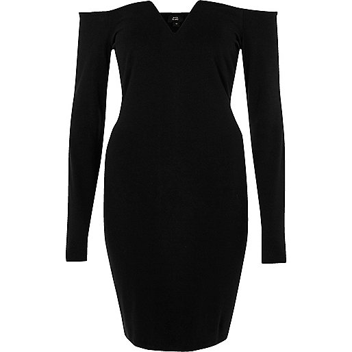 Schwarzes, langärmliges Bodycon-Kleid