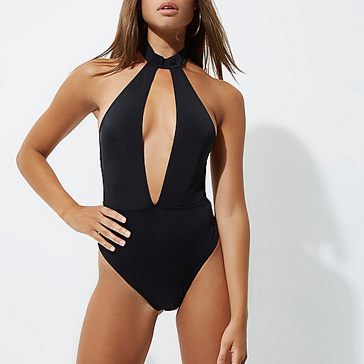Black choker plunge swimsuit