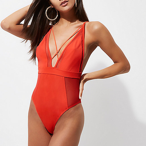 Red mesh insert strappy plunge swimsuit