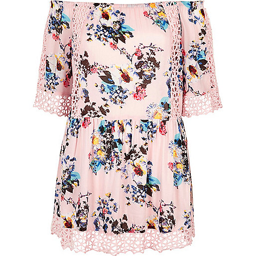 Pink floral bardot cutwork lace beach dress