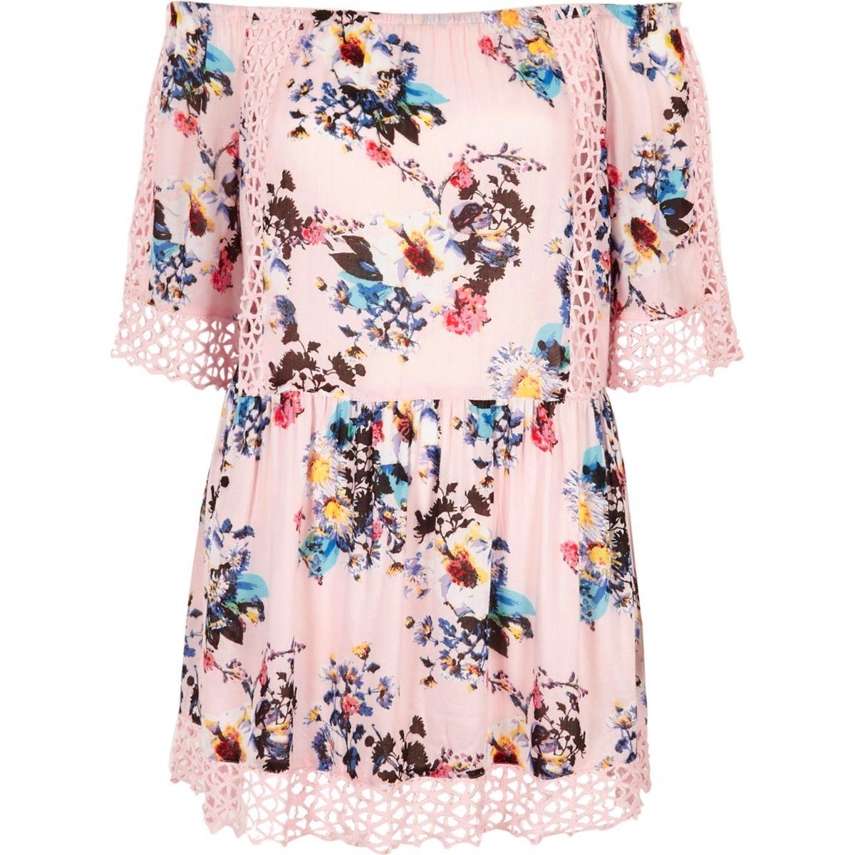 Pink floral bardot cutwork lace beach dress