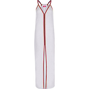 White burnout jersey trim maxi beach dress