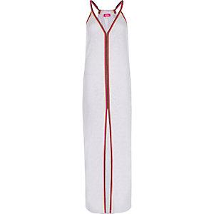 Robe de plage longue blanche effet usé avec bordure en jersey