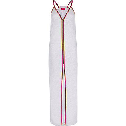 White burnout jersey trim maxi beach dress