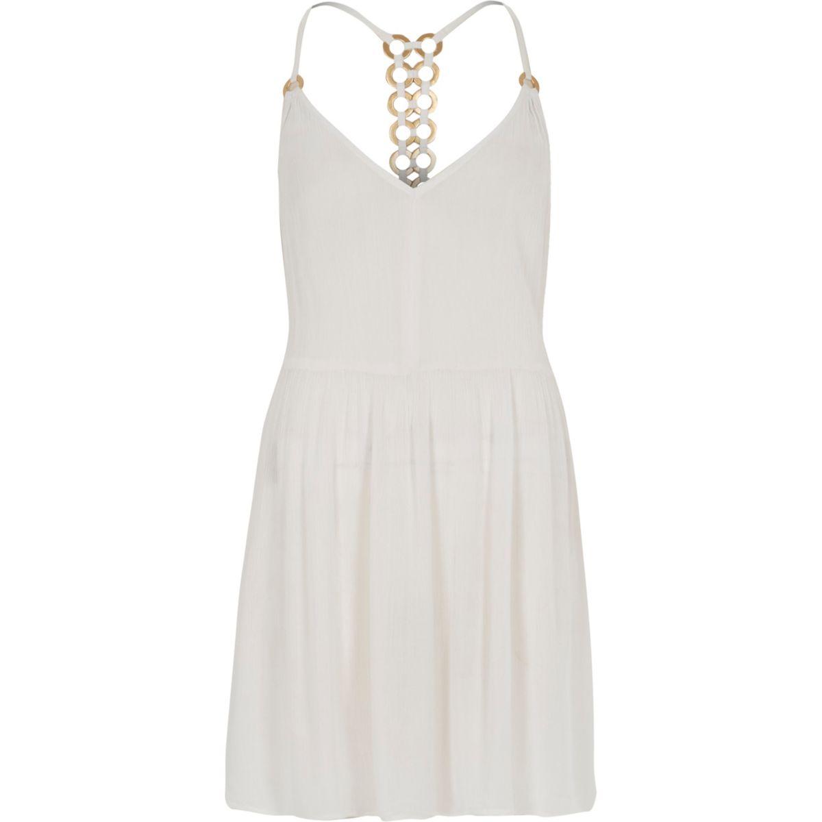 White ring back beach swing dress
