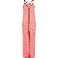 Coral burnout jersey trim maxi beach dress