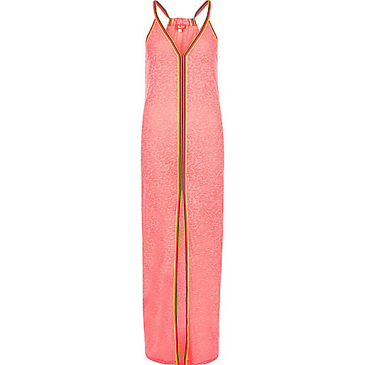 Coral burnout jersey trim maxi beach dress