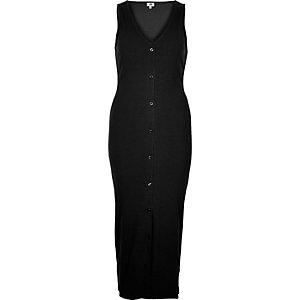 Black ribbed button front bodycon maxi dress
