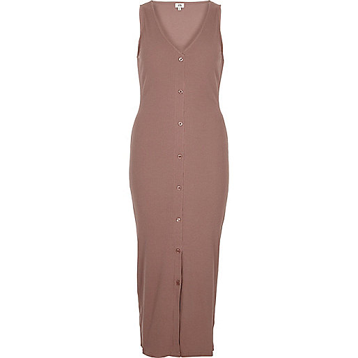 Pink ribbed button front bodycon maxi dress