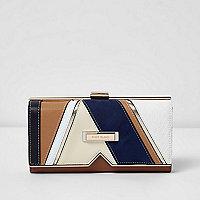 Beige cutabout clip top purse