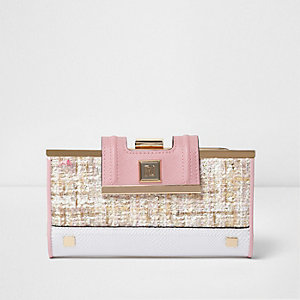 Porte-monnaie en tweed rose à fermoir clip