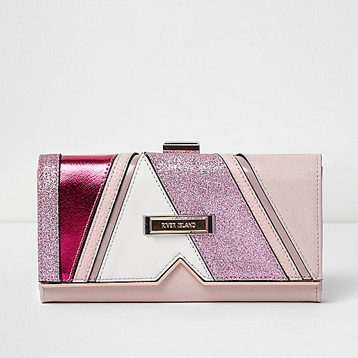 Pink glitter panel clip top purse