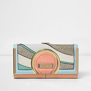 Orange wave pastel stripe purse
