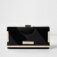 Black quilted panel clip top purse