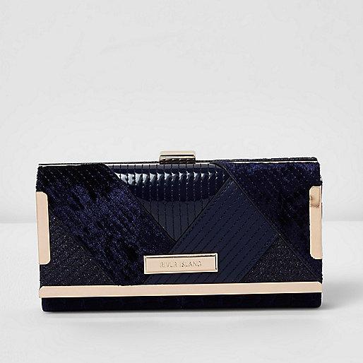 Navy mixed fabric clip top purse