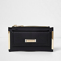 Black front pocket foldout purse