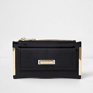 Zwart uitvouwbare portemonnee met voorvakje