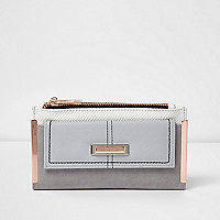 Grey foldout rose gold tone bar purse