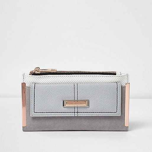 Grey foldout rose gold tone bar purse