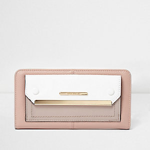 Cream color block zip around purse