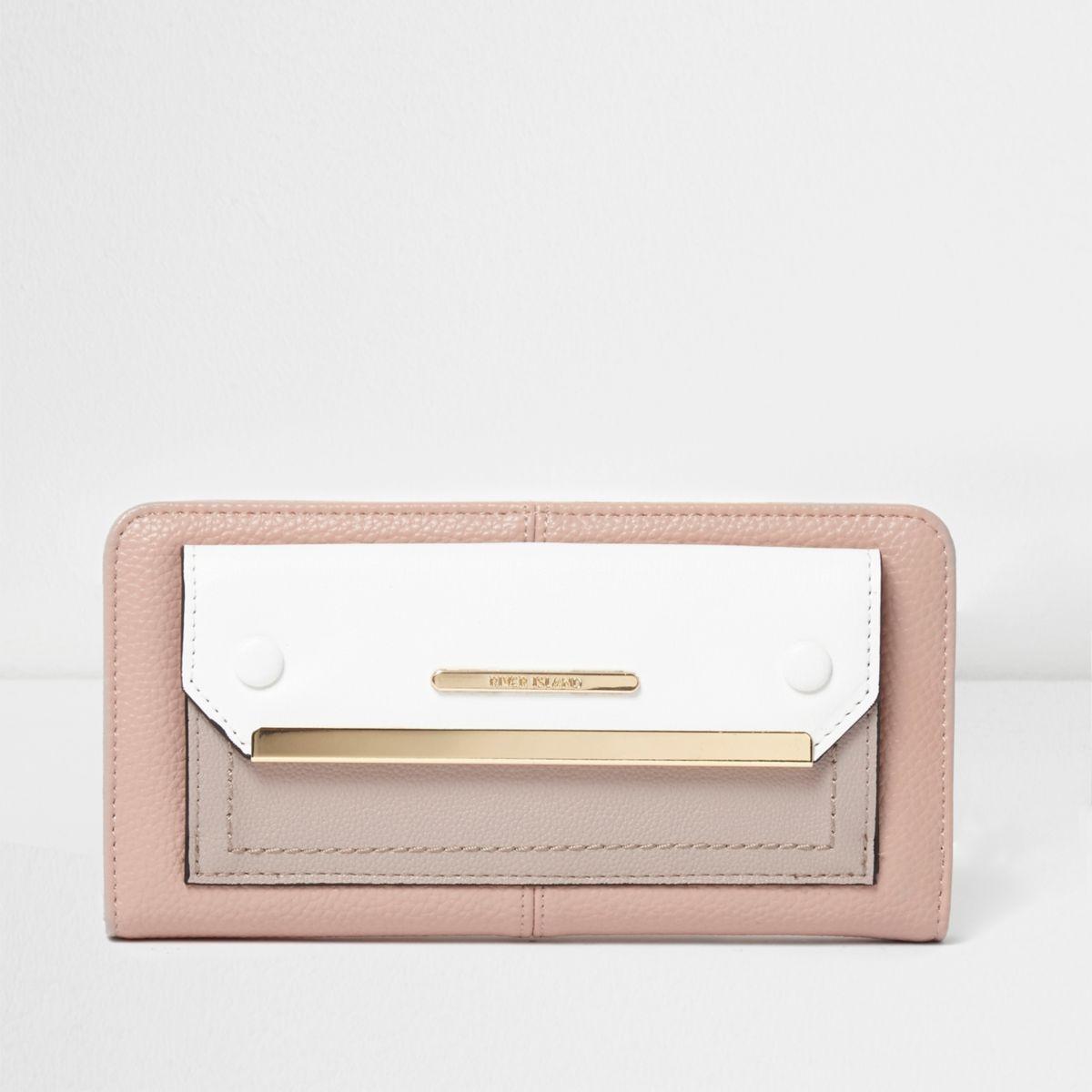Cream color block zip around purse