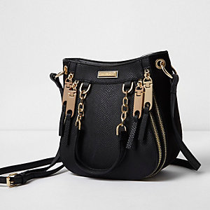 Black mini zip scoop cross body tote bag