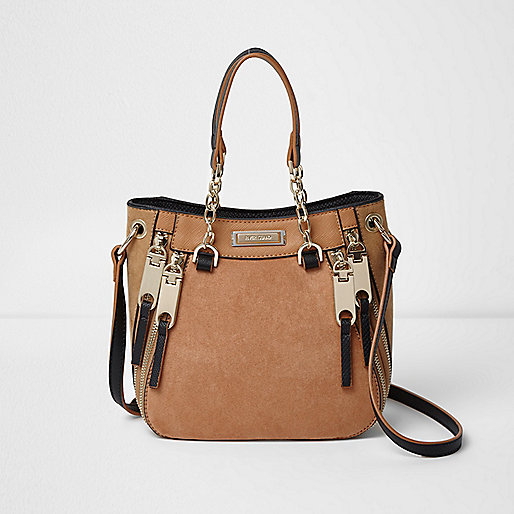Tan mini cross body tote bag