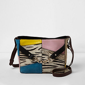 Black cross body zebra print leather bag