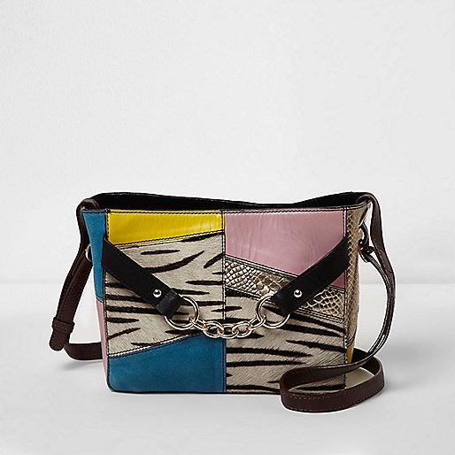 Black cross body zebra print leather bag