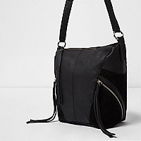 Black cross body zip detail leather bag