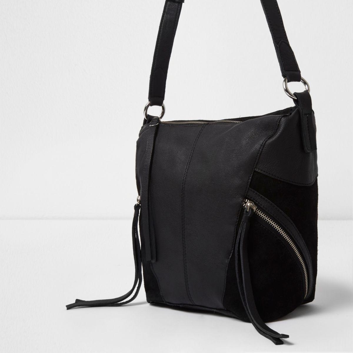 Black cross body zip detail leather bag