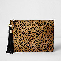 Beige leopard print leather clutch bag