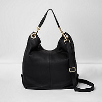 Black leather slouch bag