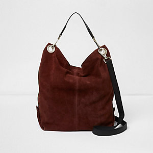 Dark red suede slouch bag