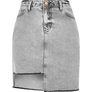Grey asymmetric hem denim skirt