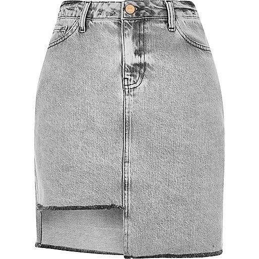 Grey asymmetric hem denim skirt