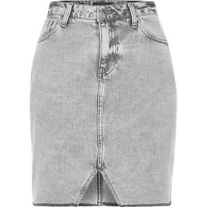 Grey cut out hem denim skirt