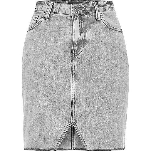 Grey cut out hem denim skirt