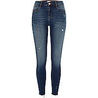 Amelie - Middenblauwe distressed superskinny jeans