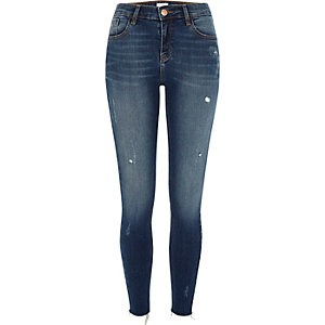 Mid blue Amelie distressed super skinny jeans