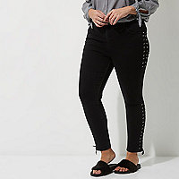 Plus black lace-up Amelie super skinny jeans