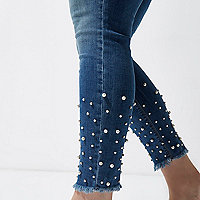Plus mid blue faux pearl hem Molly jeans