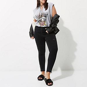 Plus – Molly – Jean skinny noir avec bordure à œillets