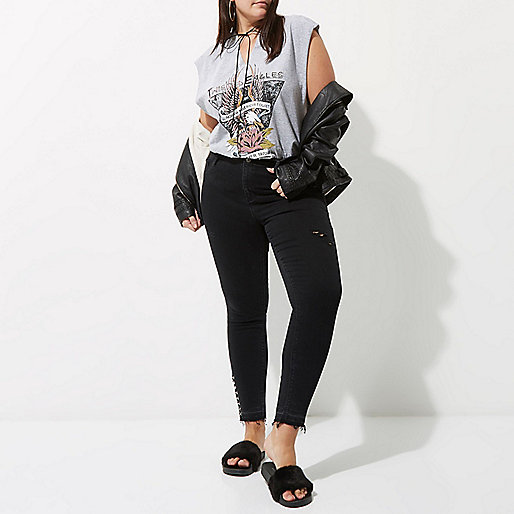 Plus black Molly ring eyelet hem skinny jeans