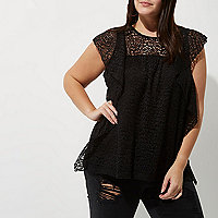 Plus black lace frill front top