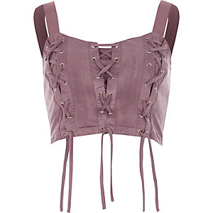 Purple lace-up front crop top