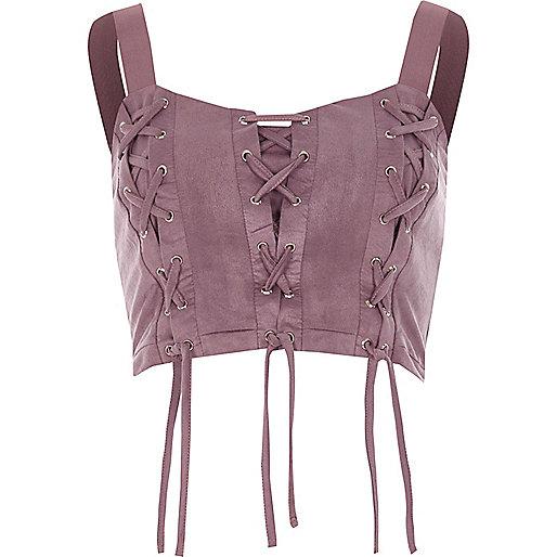 Purple lace-up front crop top