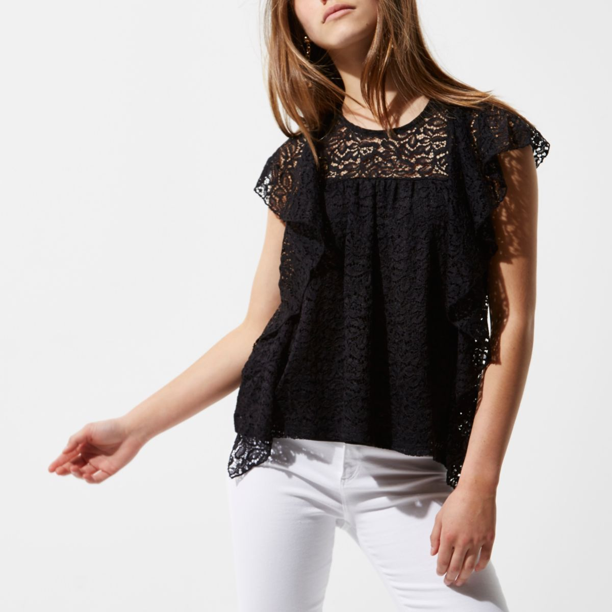 Petite black lace frill front top